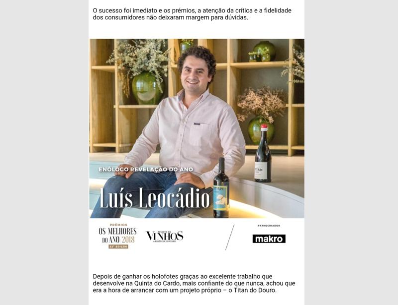 Luís Leocádio, o Enólogo Revelação do Ano para a Revista de Vinhos